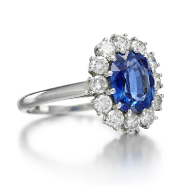View 2. Thumbnail of Lot 127. CARTIER   SAPPHIRE AND DIAMOND RING .