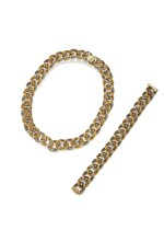 GOLD AND PLATINUM NECKLACE AND BRACELET, HENRY DUNAY