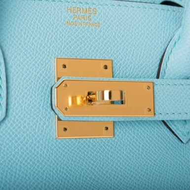 View 7. Thumbnail of Lot 18. Hermès Bleu Atoll Birkin 30cm of Epsom Leather with Gold Hardware .
