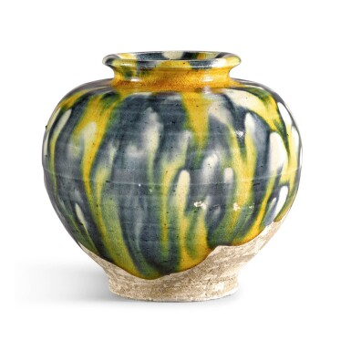 View 2. Thumbnail of Lot 213. A RARE BLUE, AMBER AND STRAW-SPLASHED JAR, TANG DYNASTY |  唐 三彩加藍罐.