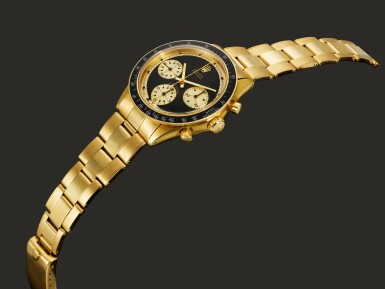 "View 6. Thumbnail of Lot 951. ROLEX |  COSMOGRAPH DAYTONA PAUL NEWMAN ""JOHN PLAYER SPECIAL"", REF 6264   AN EXTREMELY RARE AND OUTSTANDINGLY BEAUTIFUL YELLOW GOLD CHRONOGRAPH WRISTWATCH WITH BRACELET    CIRCA 1969."