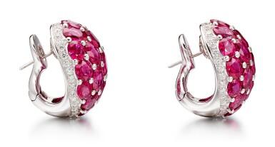 View 3. Thumbnail of Lot 1029. Pair of Ruby and Diamond Earrings | 格拉夫| 紅寶石 配 鑽石 耳環一對 (紅寶石及鑽石共重約33.50及1.80克拉).