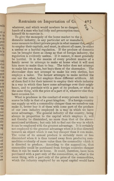 ADAM SMITH, WEALTH OF NATIONS, 1911, HAYEK'S COPY WITH UNDERLINING AND MARGINALIA