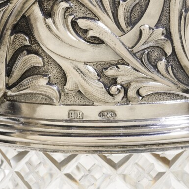 View 3. Thumbnail of Lot 107. A silver-mounted cut-glass decanter, St Petersburg, 1899-1908.