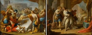 View 1. Thumbnail of Lot 44. ANDREA CELESTI  |  AMNON'S OUTRAGE ON BEHALF OF HIS SISTER, TAMAR;  ABSALOM ORDERS THE MURDER OF AMNON.