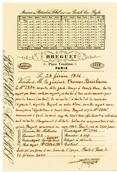 View 11. Thumbnail of Lot 27. BREGUET ET FILS  [ 寶璣]  | AN IMPORTANT OVER-SIZED SILVER OPEN-FACED SIX-MINUTE TOURBILLON WATCH WITH PETO'S CROSS DETENT CHRONOMETER ESCAPEMENT, REGULATOR DIAL AND PRESENTATION ENGRAVING FROM SIR THOMAS MAKDOUGALL BRISBANE BART.  NO. 2574, CASE NO. 287, 'GARDE-TEMPS À TOURBILLON' SOLD TO LE GÉNÉRAL THOMAS BRISBANE ON 23 FEBRUARY 1816 FOR 2,000 FRANCS  [ 罕有特大型銀製六分鐘陀飛輪懷錶備PETO十字制動式擒縱系統精密計時機芯、三針一線錶盤及刻托馬斯・麥克杜格・布里斯班從男爵贈字,編號2574,錶殼編號287,1816年2月23日以2,000法郎售予托馬斯・布里斯班少將].