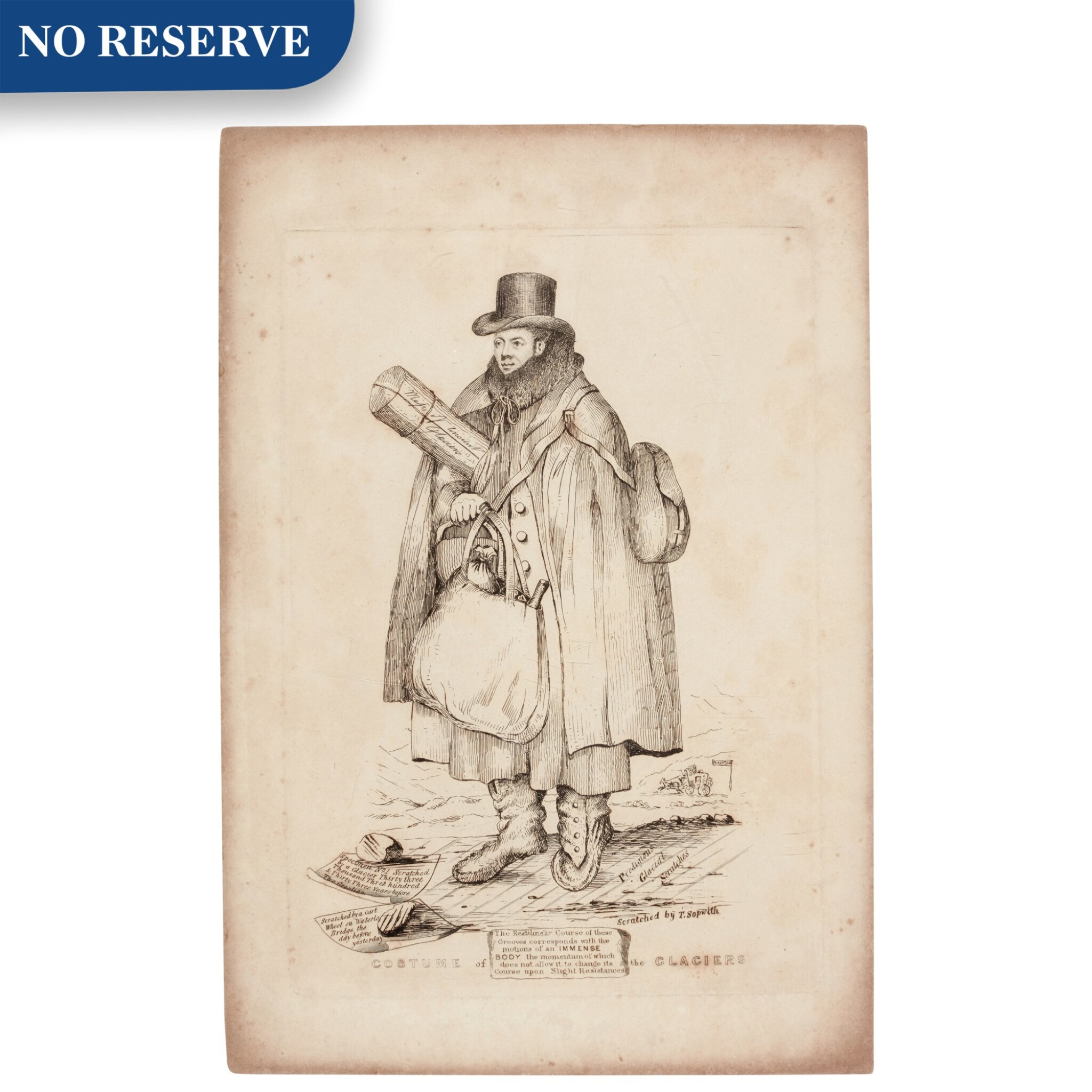 View full screen - View 1 of Lot 51. Thomas Sopwith   Costume of the Glaciers [portrait of William Buckland], etching, [1830s].
