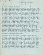 """Sylvia Plath   Typed letter signed, to Ted Hughes, """"we will burn love to death all our long lives"""", 10 October 1956"""