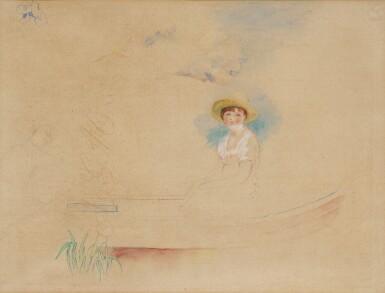 View 1. Thumbnail of Lot 12. La Yole et jeune femme au chapeau de paille (Femme assise dans une barque).