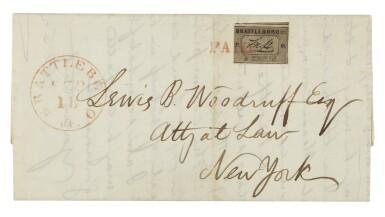View 1. Thumbnail of Lot 8. Postmaster's Provisional Brattleboro, VT. 1846 5c Black on Buff (5X1).