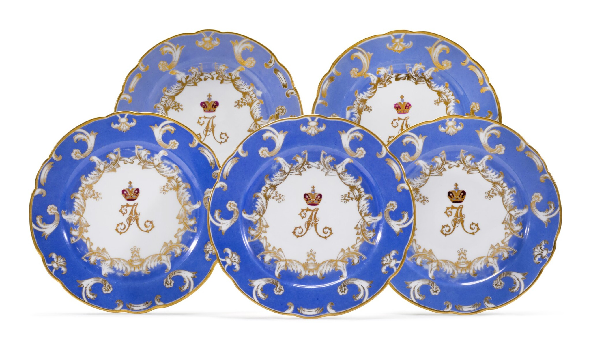 View full screen - View 1 of Lot 255. FIVE PORCELAIN DINNER PLATES FROM THE FARM PALACE BANQUET SERVICE, IMPERIAL PORCELAIN FACTORY, ST PETERSBURG, PERIOD OF ALEXANDER III, 1890.