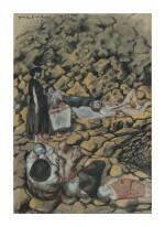 "PAVEL TCHELITCHEW    SURVIVORS ON THE ROCKS (STUDY FOR ""PHENOMENA"")"