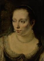 FERDINAND BOL | A PORTRAIT OF A LADY, HEAD AND SHOULDERS, WEARING PEARL JEWELRY, POSSIBLY JOHANNA DE GEER