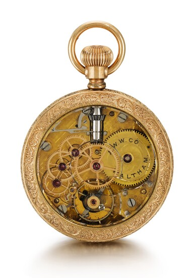 View 3. Thumbnail of Lot 19. AMERICAN WATCH CO., WALTHAM  [ American Watch Co., 沃爾瑟姆]  | A RARE SMALL GOLD OPEN-FACED KEYLESS LEVER WATCH WITH ROCK CRYSTAL MOVEMENT  CIRCA 1890  [ 罕有小型黃金懷錶備水晶機芯,年份約1890].