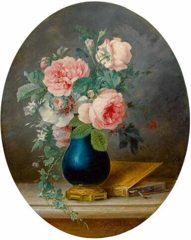 View 1. Thumbnail of Lot 33. ANNE VALLAYER-COSTER | A STILL LIFE OF ROSES AND OTHER FLOWERS IN A BLUE VASE WITH A BOOK.