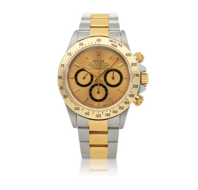 ROLEX |   'ZENITH' DAYTONA, REF 16523   STAINLESS STEEL AND YELLOW GOLD CHRONOGRAPH WRISTWATCH WITH BRACELET AND 'INVERTED 6' DIAL   CIRCA 1993