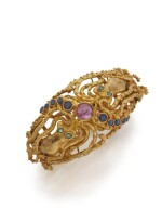 GOLD, RUBY, SAPPHIRE AND EMERALD CUFF-BRACELET, ZOLOTAS