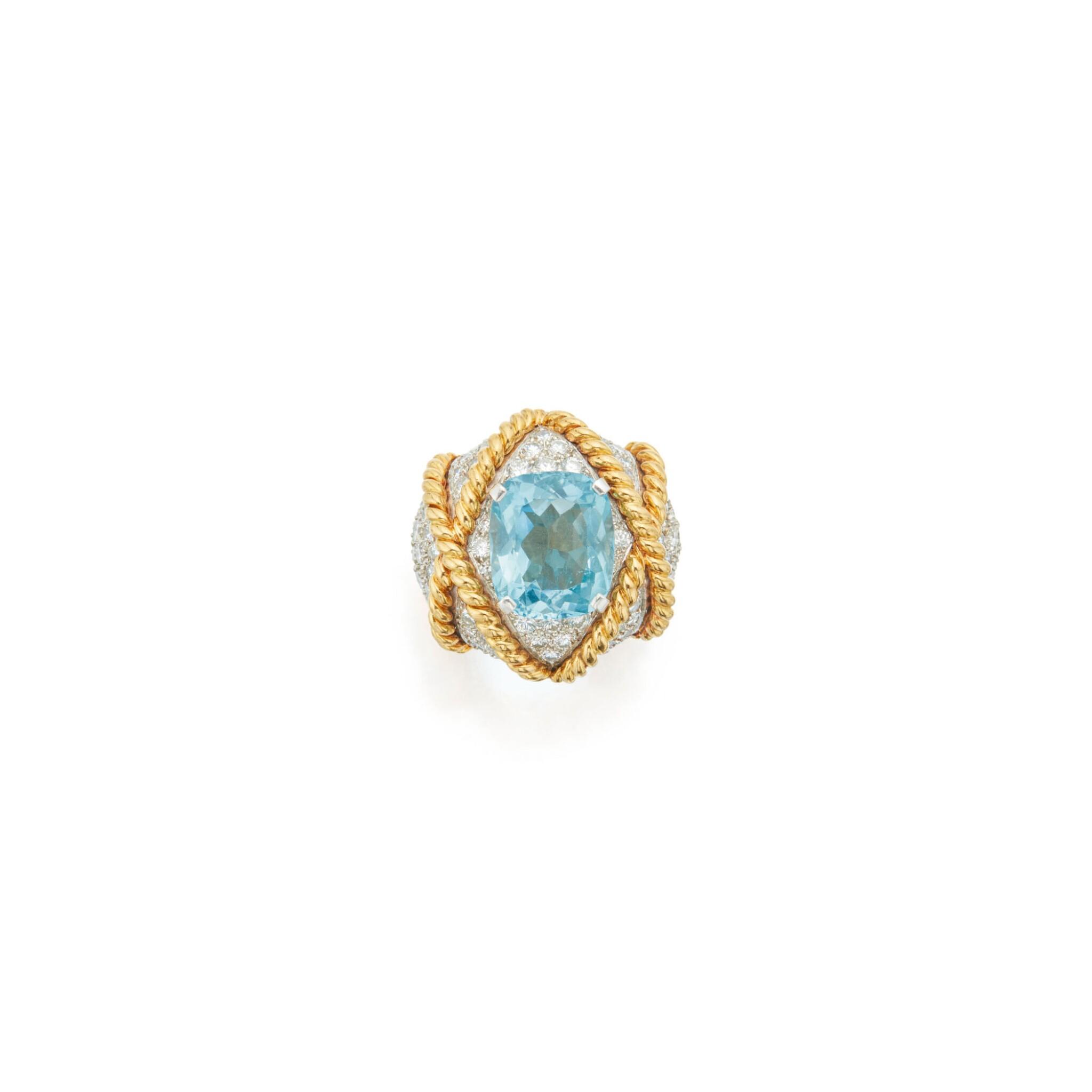 AQUAMARINE AND DIAMOND RING, VERDURA