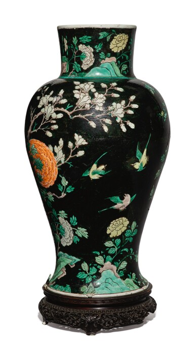 View 4. Thumbnail of Lot 1038. A FAMILLE-NOIRE 'BIRD AND FLOWER' BALUSTER JAR, QING DYNASTY, 19TH CENTURY.