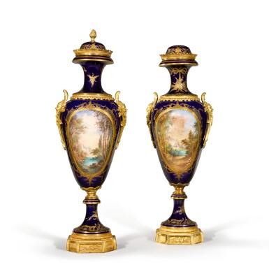 View 2. Thumbnail of Lot 86. A pair of gilt-metal mounted Sèvres style vases and covers, circa 1890.