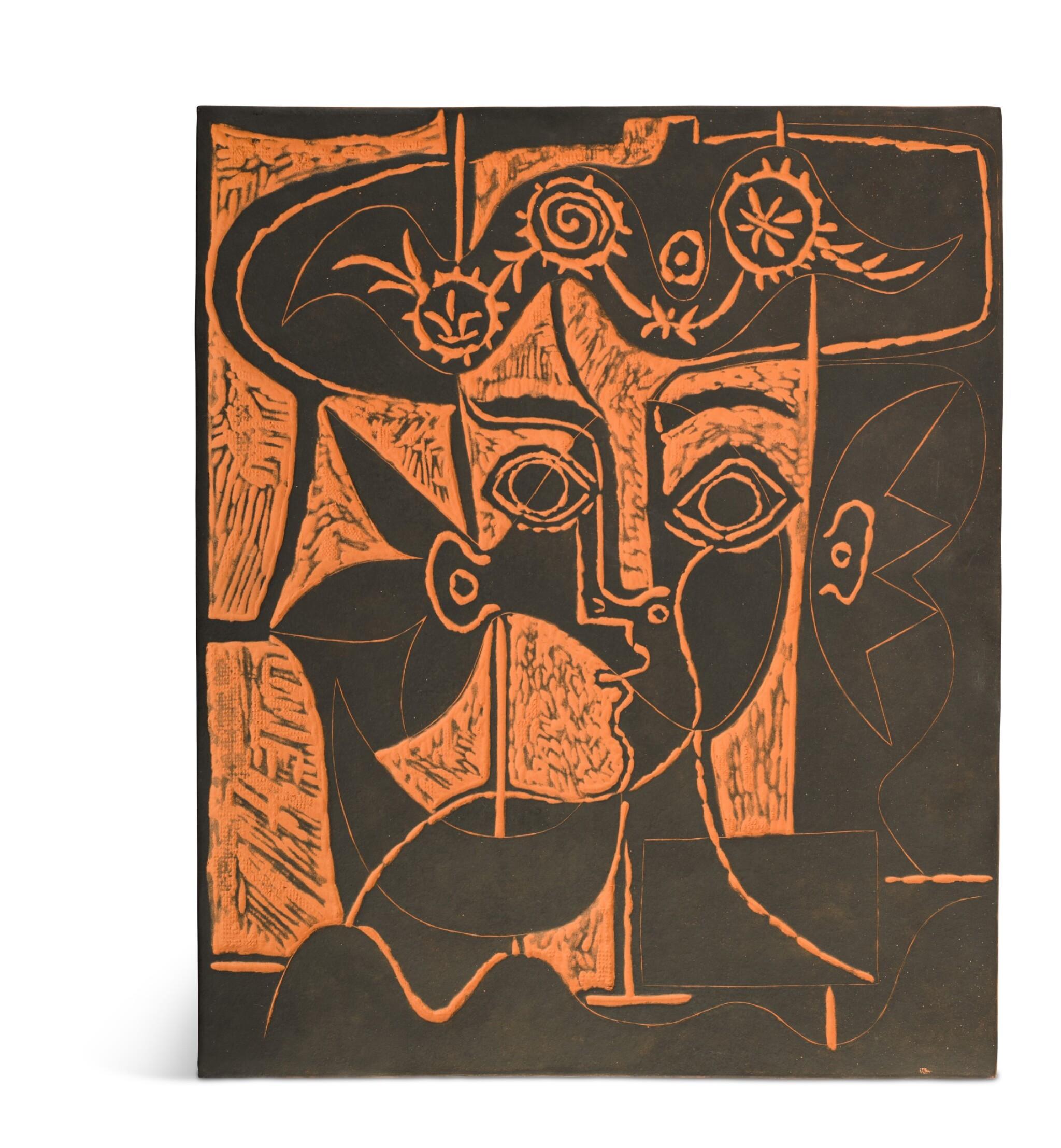View full screen - View 1 of Lot 56. PABLO PICASSO | GRANDE TÊTE DE FEMME AU CHAPEAU ORNÉ (A. R. 518).