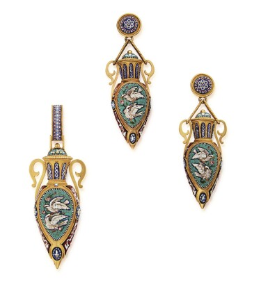 View 1. Thumbnail of Lot 50. HUNT & ROSKELL | GOLD AND MICROMOSAIC PENDANT AND PAIR OF PENDANT-EARRINGS.