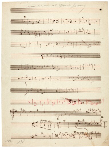 Jacques Offenbach. Collection of sketchleaves, including sketches for