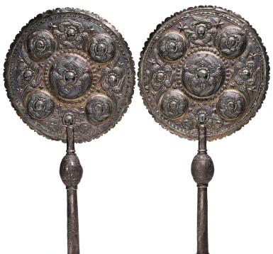 A PAIR OF ARMENIAN SILVER-GILT LITURGICAL FANS, TURKEY, 18TH CENTURY