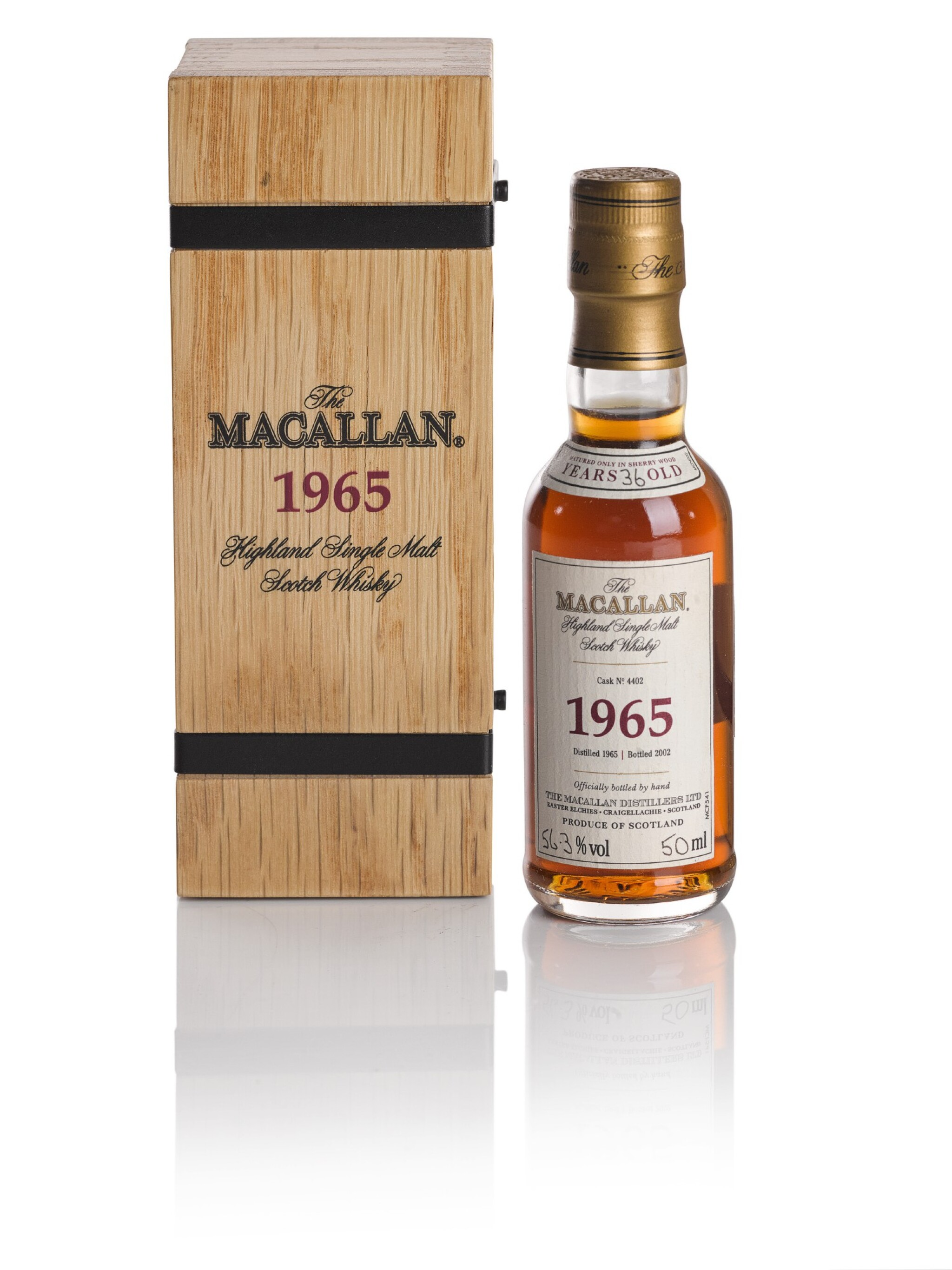 View full screen - View 1 of Lot 102. THE MACALLAN FINE & RARE 36 YEAR OLD 56.3 ABV 1965.