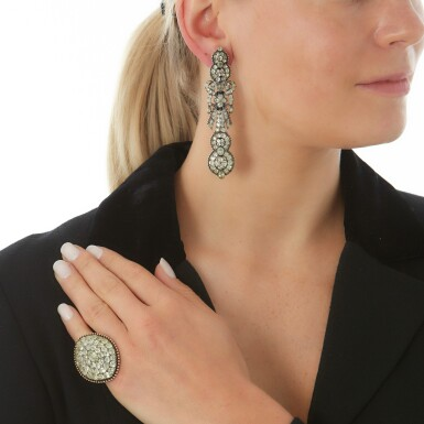 View 5. Thumbnail of Lot 214. PAIR OF CHRYSOBERYL EARRINGS AND A RING.