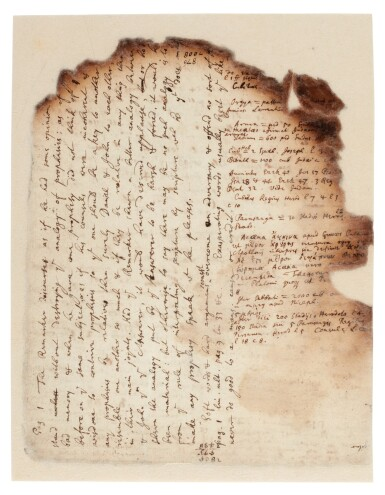 View 2. Thumbnail of Lot 61. NEWTON | Autograph manuscript notes on the Great Pyramid of Egypt, c. 1680s.