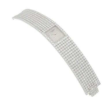 View 3. Thumbnail of Lot 60. Kalla, Ref. 35704-707G White gold and diamond-set bracelet watch Made in 1990 | 江詩丹頓35704-707G型號「Kalla」白金鑲鑽石鍊帶腕錶,1990年製.