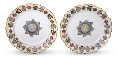 View 1. Thumbnail of Lot 117. Two Porcelain Plates from the Service for the Imperial Order Of St Andrew, Gardner Porcelain Factory, Verbilki, circa 1780.