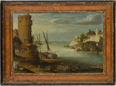 View 2. Thumbnail of Lot 127. A river landscape with a fort.