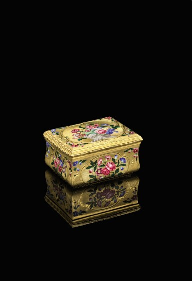 View 1. Thumbnail of Lot 13. A gold and enamel snuff box, James Bellis, London, circa 1765.