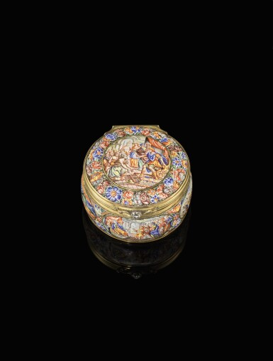 View 1. Thumbnail of Lot 1. An enamel snuff box with jewelled gold mounts, possibly Southern German, dated 1671.