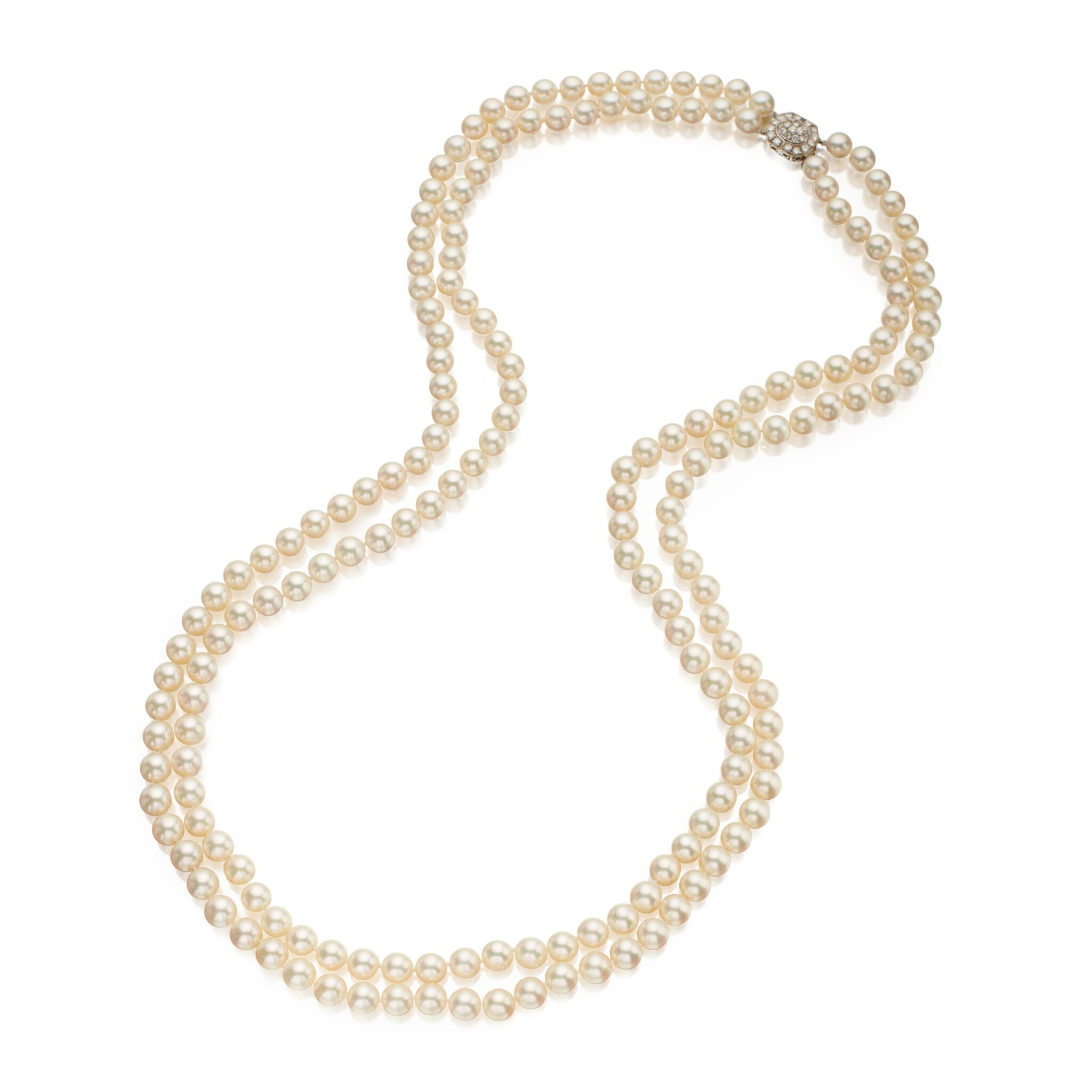 View 1 of Lot 328. Tiffany & Co. | Cultured Pearl and Diamond Necklace.