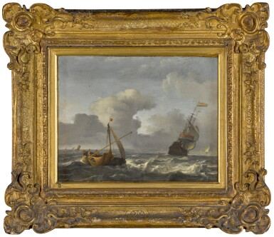 View 2. Thumbnail of Lot 161. A sailing boat and man-o'-war in choppy waters.