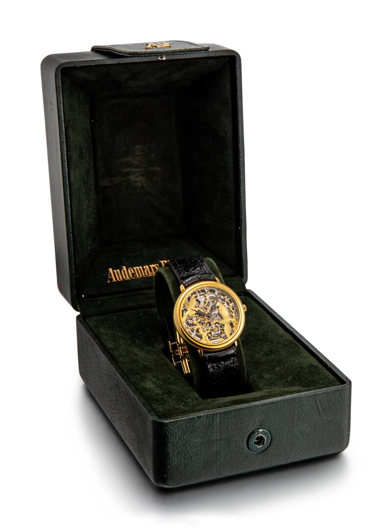 A Yellow Gold Skeletonized Wristwatch, Circa 1980