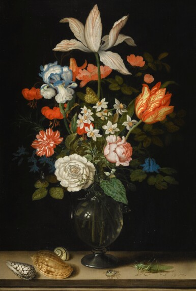 BALTHASAR VAN DER AST | Still life of mixed flowers in a glass vase, with three shells, a grasshopper and a spider on a tabletop | 巴爾薩澤・凡・德・阿斯特 | 《靜物:玻璃花瓶內的雜花與桌上的三個貝殼、蚱蜢及蜘蛛》