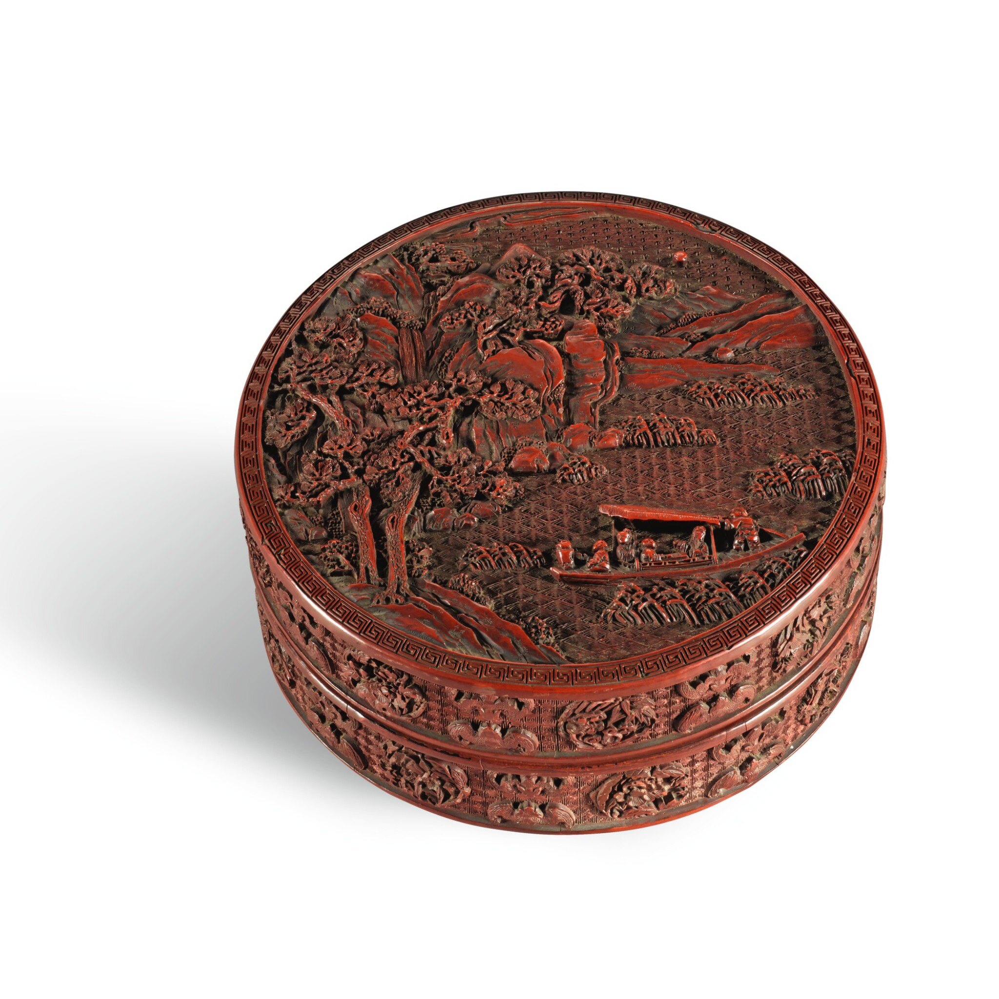 View full screen - View 1 of Lot 45. AN IMPERIAL CARVED CINNABAR LACQUER BOX AND COVER, QIANLONG MARK AND PERIOD | 清乾隆 剔紅赤壁寶盒 《赤壁寶盒》、《大清乾隆年製》款.