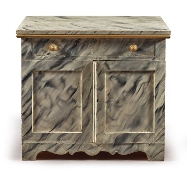 View 2. Thumbnail of Lot 1481. VICTORIAN PAINTED AND SMOKE-DECORATED PINE CABINET, CIRCA 1885.