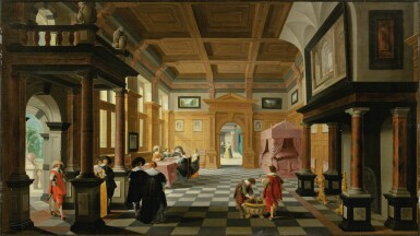 View 1. Thumbnail of Lot 25. Interior of a Palace with Ladies and Gentlemen.