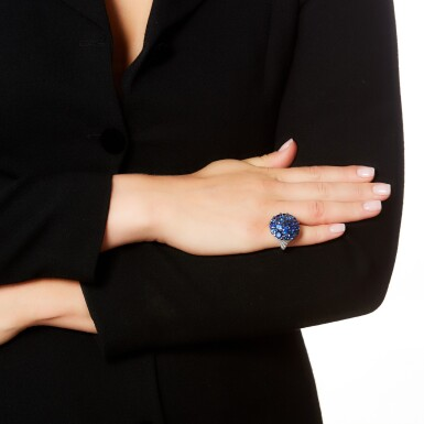 View 4. Thumbnail of Lot 65. GRAFF   SAPPHIRE AND DIAMOND RING.