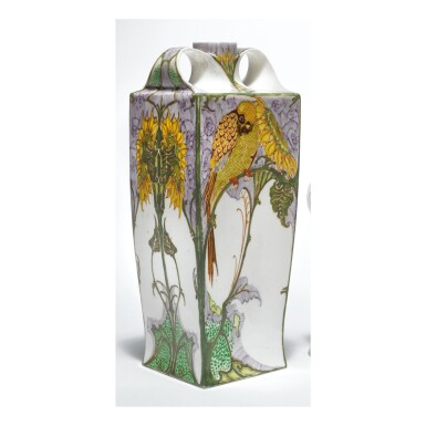 """View 1. Thumbnail of Lot 119. ROZENBURG   TWO-HANDLED """"SUNFLOWER AND SWALLOW"""" VASE."""