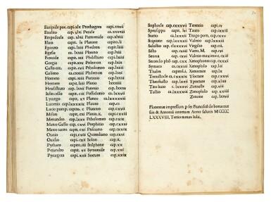 Diogenes Laertius, Vita de philosophi, Florence, 1488, modern vellum