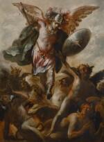 SCHOOL OF MADRID, CIRCA 1700   Saint Michael vanquishing the Devil