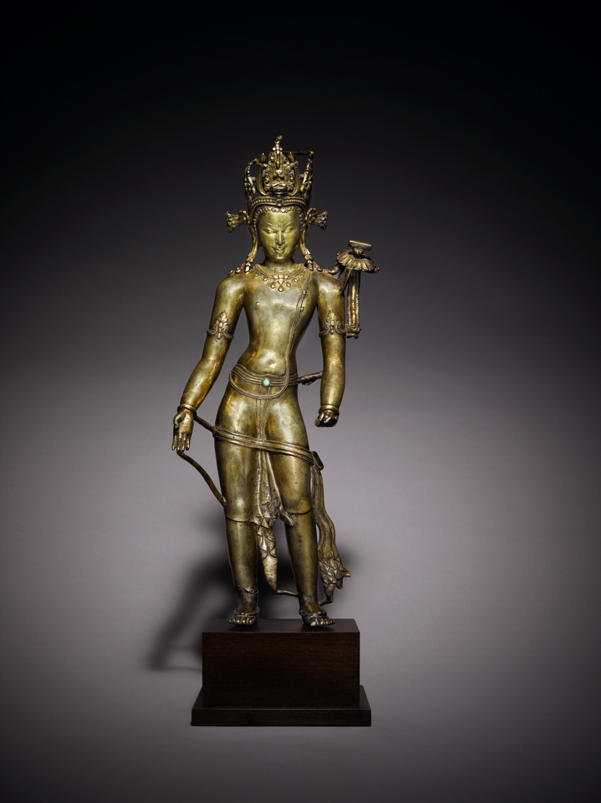 View full screen - View 1 of Lot 326. An Important Copper Alloy Figure of Manjushri Central, Tibet, 12th/13th Century .