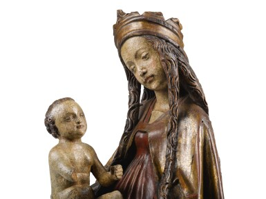 View 2. Thumbnail of Lot 40. SOUTHERN GERMAN, PROBABLY UPPER RHINE, LATE 15TH CENTURY | VIRGIN AND CHILD ENTHRONED.