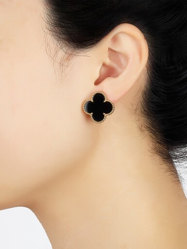 View 4. Thumbnail of Lot 9116. PAIR OF ONYX EAR CLIPS, 'MAGIC ALHAMBRA', VAN CLEEF & ARPELS | 縞瑪瑙耳環一對, Magic  Alhambra', 梵克雅寶(Van Cleef & Arpels).